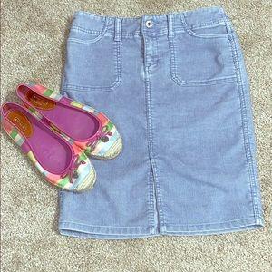 Blue corduroy 5-pocket stretch midi skirt size 1/2